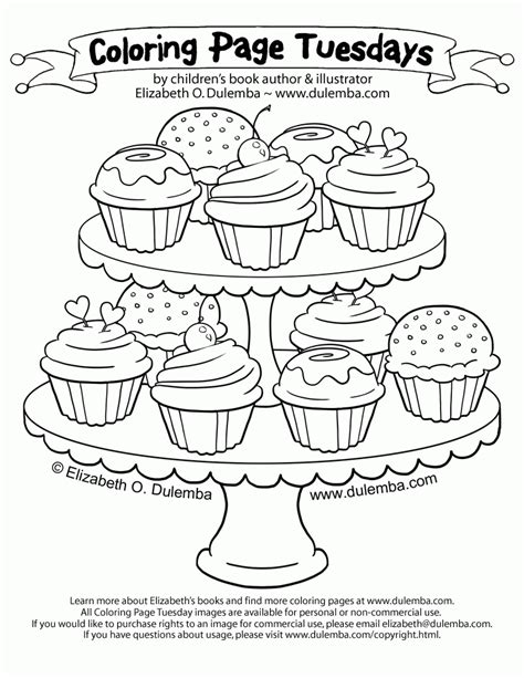 coloring page tuesday dulemba coloring page tuesday tier of cupcakes