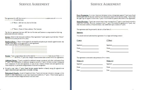 service agreement template free agreement and contract