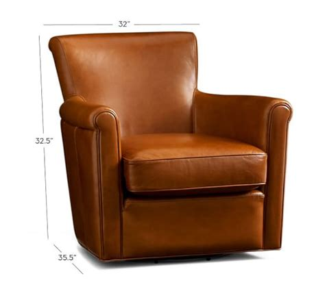 leather swivel armchair irving leather swivel armchair pottery barn