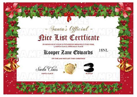 free santas nice list certificate new calendar template site