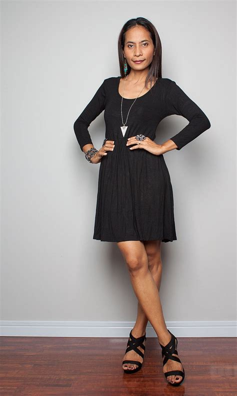 short black dress long sleeves casual black dress kiss