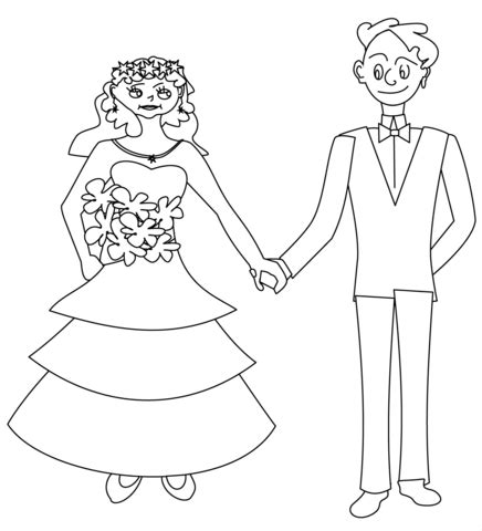Printable And Groom Coloring Pages by Happy And Groom Coloring Page Free Printable