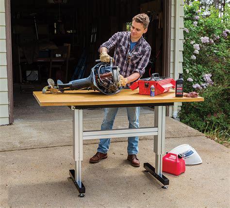 adjustable height work rockler introduces adjustable height work station