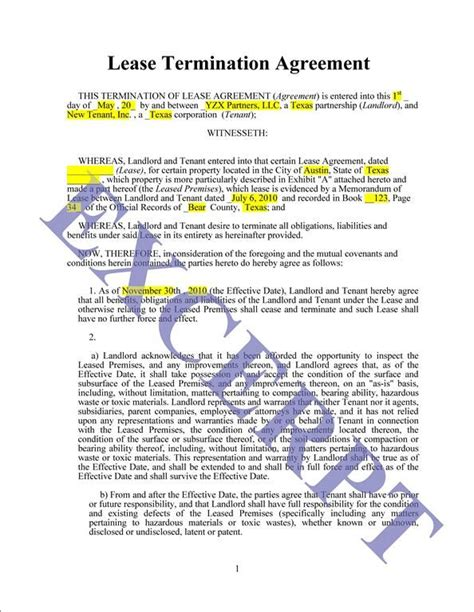 Lease Termination Agreement Template 78 Best Images About Documents On Power Of Attorney Form Real Estate Forms