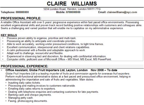 Example Of Secretary Resume by Office Assistant Cv Sample