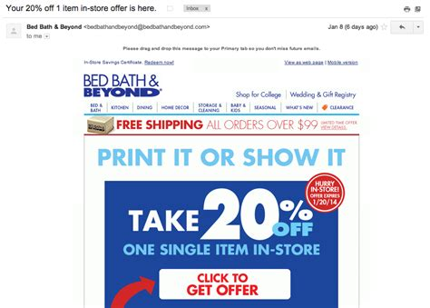 bed bath beyond in store coupon things to consider when implementing your mobile email