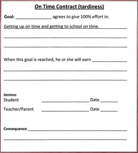 Lorinda Character Education Contracts Behavior Homework Chore On Time Behavior Management After School Program Contract Template
