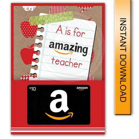 printable amazon gift card holder printable a is for amazing teacher amazon gift