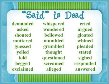 synonyms for bed writing anchor chart quot said is dead quot poster by beverly