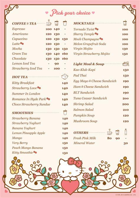 Bangkok Gardens Menu by Bangkok Sanrio Hello House Cafe Smiles