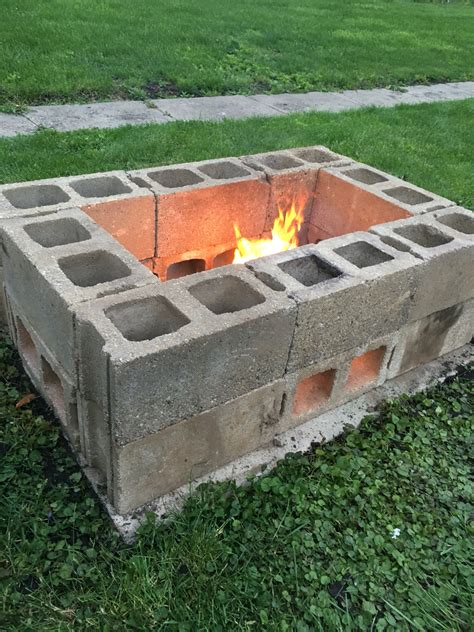 diy pit made from cinder blocks for the home