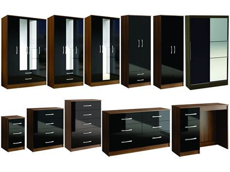 bedroom furniture black gloss lynx walnut black gloss bedroom furniture wardrobe chest