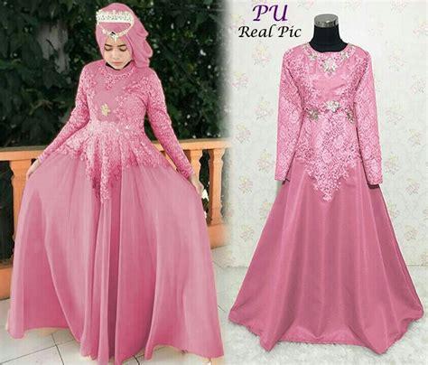 Macam Macam Model Baju Muslim Dri Bahan Brokat | beragam model baju muslim brokat terbaru ltd min