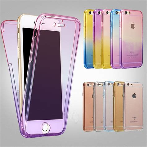 ombre shockproof hybrid back front rubber clear cover for iphone 5 6s 7plus ebay