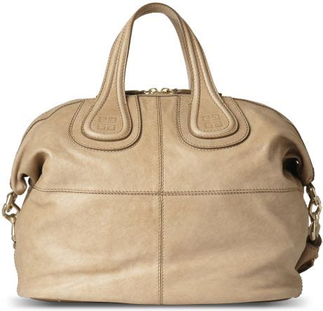 Givenchy Medium Nightingale In Beige Canvas Black Leather 2014 givenchy nightingale soft leather medium tote in beige sand lyst
