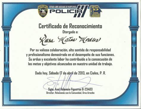 certificados de reconocimiento en blanco newhairstylesformen2014com certificado de reconocimiento policia pr