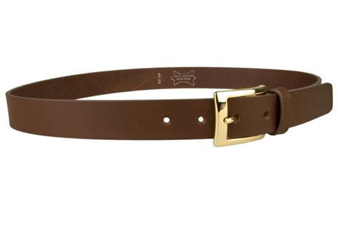 mens brown leather belt with gold buckle right facing