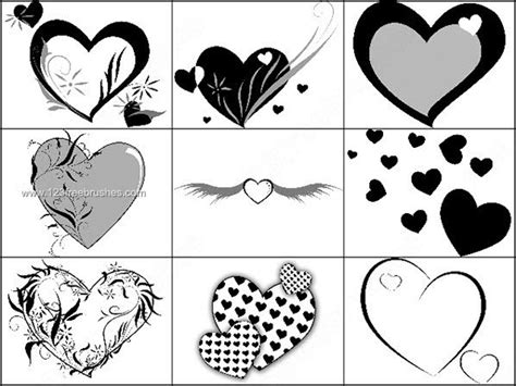 heart templates for photoshop brushes heart with wings template 123freebrushes