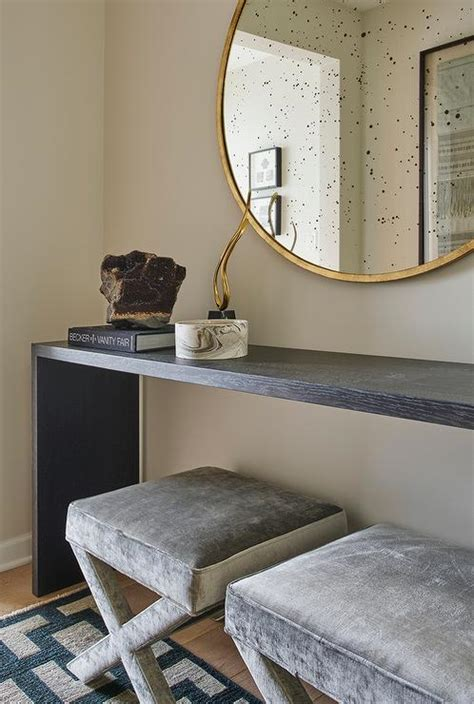 Entryway Table With Stools Underneath Black Waterfall Console Table With Gray Velvet X Stools