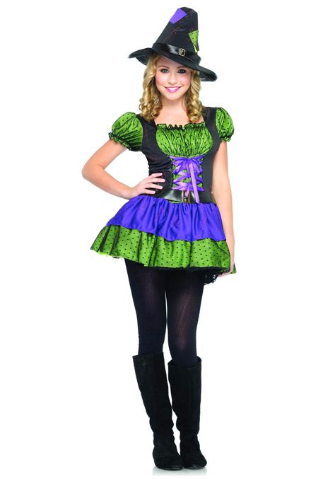 Halloween Costumes Decorations Colorful Teen Witch Costume