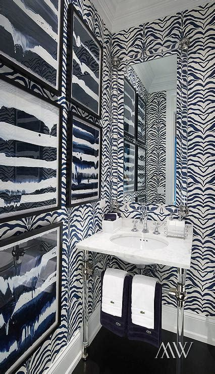 powder room  black  white zebra wallpaper