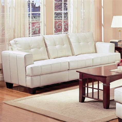 694 95 Samuel Contemporary Leather Sofa In White White Sofa Chair