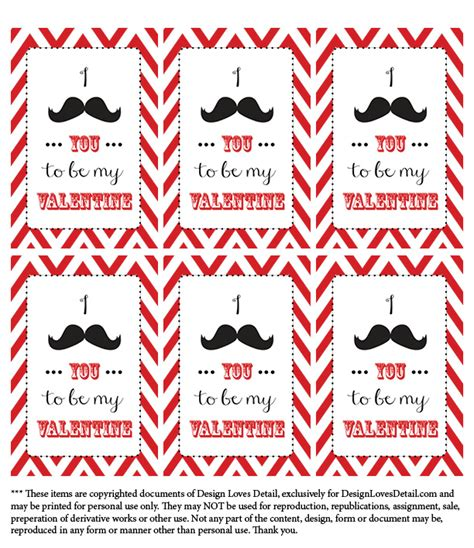 printable mustache gift tags valentines day printables mustache