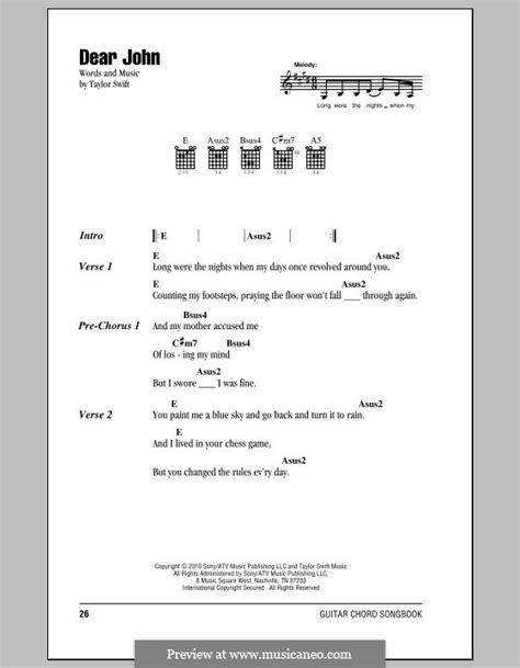 dear john taylor swift lyrics and chords dear john by t swift sheet music on musicaneo