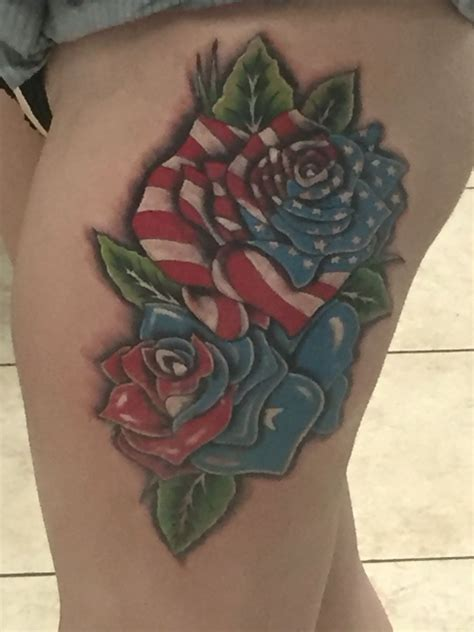 texas rose tattoo american flag and flag americanflag