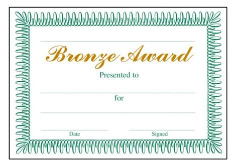 bronze award classic certificate school merit stickers