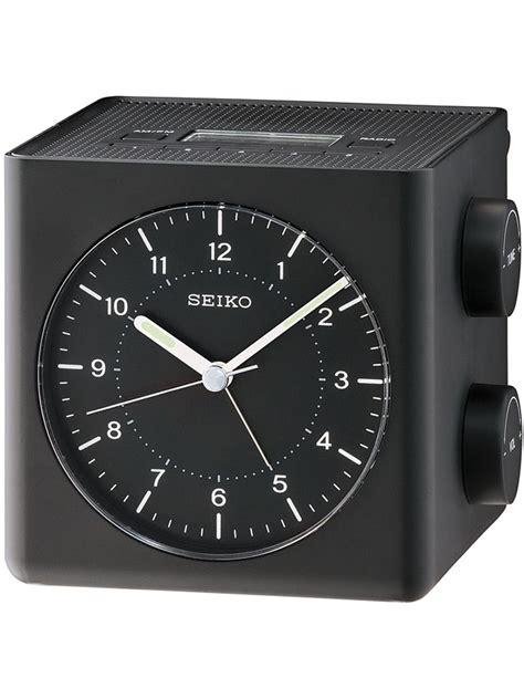 qhe112k new seiko black stylish battery powered radio alarm clock ebay