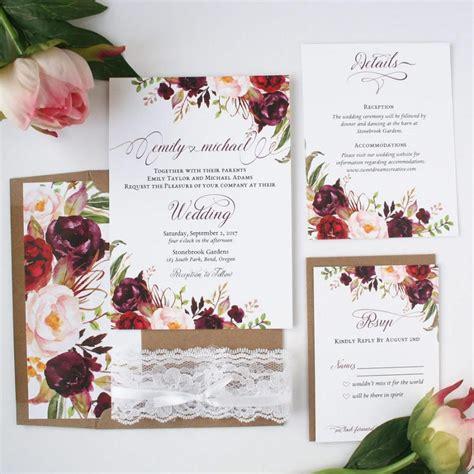 Wedding Invitations Burgundy by Fall Wedding Invitations Burgundy Blush Wedding