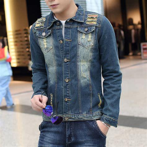 Washed Ripped Denim Jacket s ripped jean jacket denim blue sleeved denim
