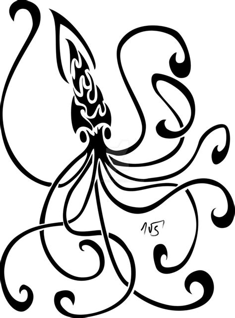 tribal squid tattoo tribal squid vector remake by sakashima on deviantart