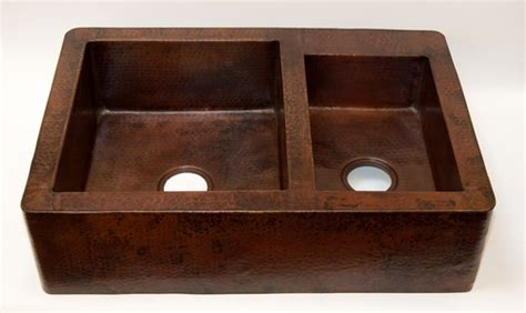 romano fireclay sinks 33 quot copper kitchen farmhouse sink apron front 60 40 doubel