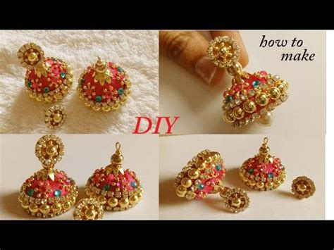 How To Make Paper Jhumkas At Home - diy how to make designer silk thread bridal jhumka