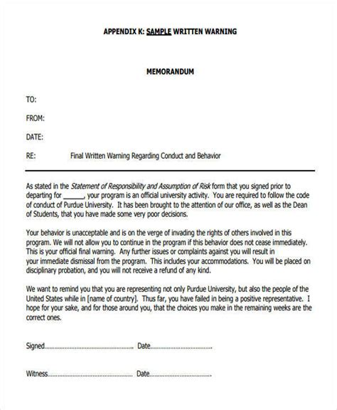 verbal warning template standard staff late coming