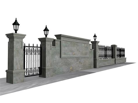 antique garden wall fence  model ds max files