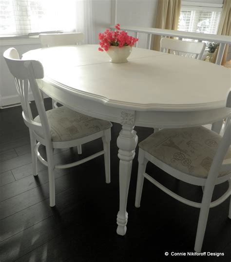 hometalk painted dining room table in white with gold