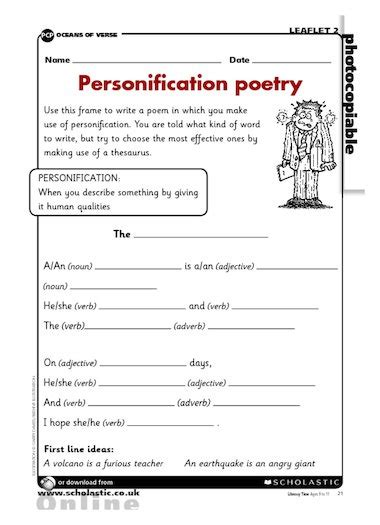 personification poetry writing frame primary ks2