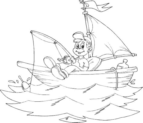 coloring page of little boy fishing boy fishing in small sailboat coloring page coloring com