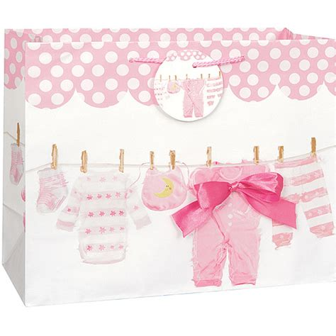Baby Shower Stuff At Walmart by Large Pink Clothesline Baby Shower Gift Bag Walmart