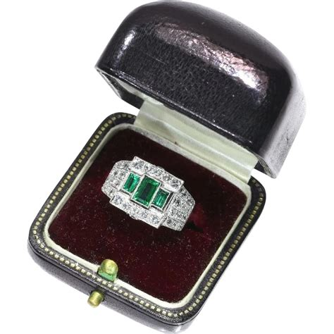 pair rings emerald and platinum ring ca 1950 from