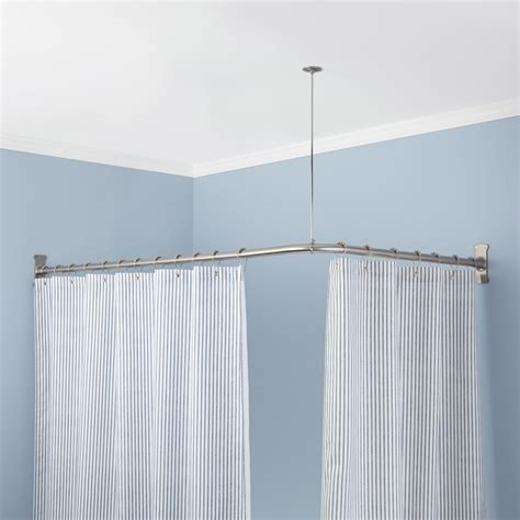 shower curtain for corner bath corner shower curtain rod shower curtain rods bathroom gotta stage it shower
