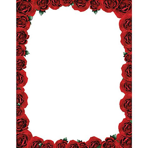 rose themed paper invitation paper rectangle potrait white red rose framing