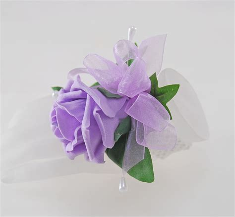 Handmade Foam Lilac Rose & Pearl Wedding Wrist Corsage