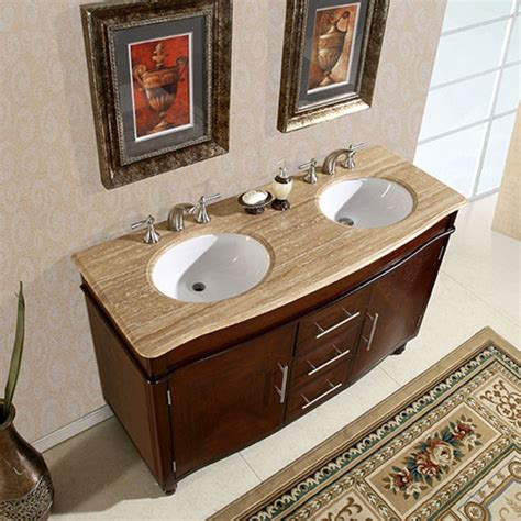 Assembled Kitchen Cabinets 55 inch double sink vanity with travertine top and