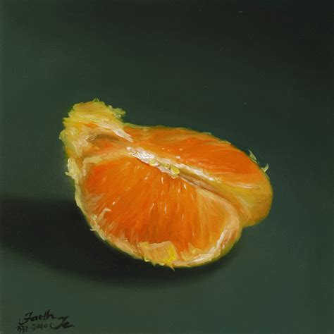 orange painting small orange painting in oil by artist faith te daily