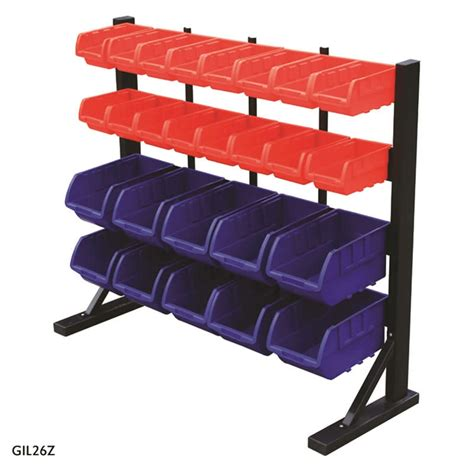 bench with storage bins bench bin rack complete with 26 bins csi products