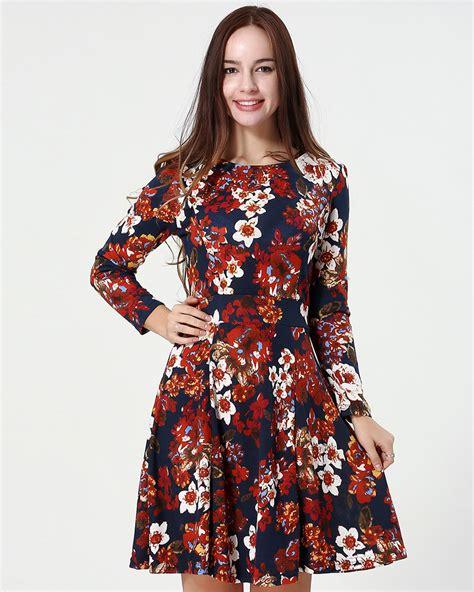 Baju Casual Vintage new fashion summer womens cotton classical vintage sleeve print flower casual dress slim
